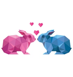 couple of lovers rabbit style low poly vector image vector image
