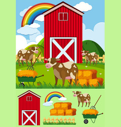 Cows and red barn in the farmyard vector
