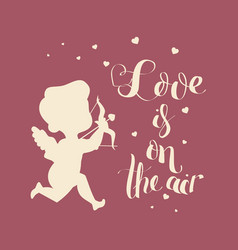 Cupid love silhouette with bow and arrow and love vector