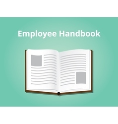 Employee handbook with books open and vector