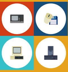 flat icon computer set of vintage hardware vector image
