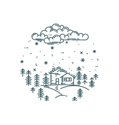 flat linear winter landscape in round vector image vector image