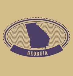 Georgia map silhouette - oval stamp vector