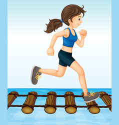 Girl running on wooden log bridge vector