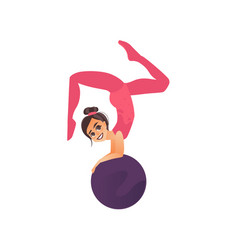 Gymnast acrobat girl doing handstand on big ball vector
