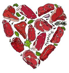 heart of meat steaks vector image