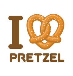 I love pretzel snack heart food lover sign vector