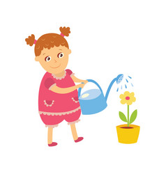 Little girl watering houseplant pot flower vector