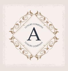 Luxury company a monogram crest frame ornament vector