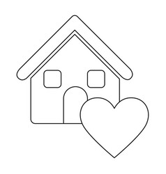 Monochrome contour house with icon heart vector
