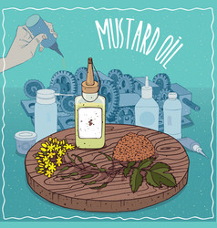 Mustard seed oil used as grease lubricant vector