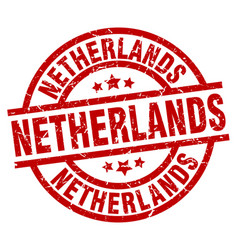 Netherlands red round grunge stamp vector