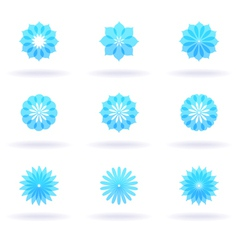 nine flower icons vector image vector image