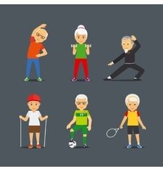Old people sport lifestyle icons vector image