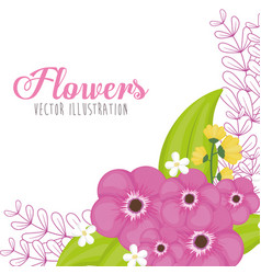 Pink flowers spring card vector