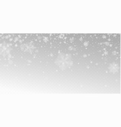 Realistic falling snow with white snowflakes vector