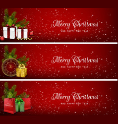set of christmas banners with gift boxesbag and c vector image vector image