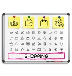 Shopping hand drawing line icons vector