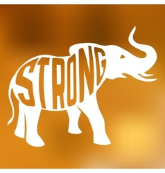 Silhouette of strong elephant with text inside on vector image