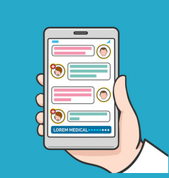 Smartphone physician online consultation vector