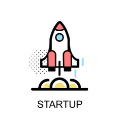 startup rocket graphic icon vector image