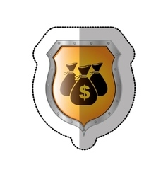 Sticker shield with set collection bag with dollar vector