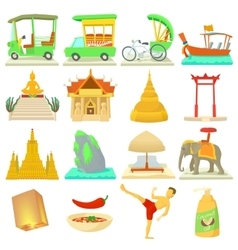 Thailand travel icons set cartoon style vector