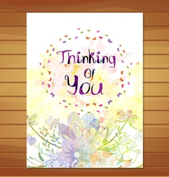 Thinking of you card watercolor flower background vector