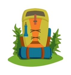 flat hiking travel backpack bag vector image