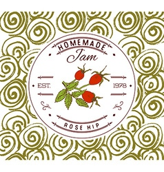 Jam label design template for rose hip dessert vector