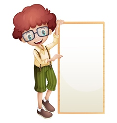 A boy showing an empty frame vector