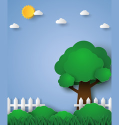 Tree in green field with fence paper art style vector