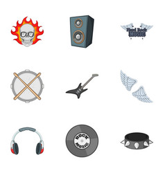 Biker logo icons set cartoon style vector