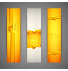 Set of banners with yellow ribbons vector