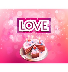 Inscription love cut on a pink background with big vector