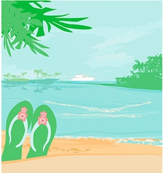 Summer holiday background with footprints vector