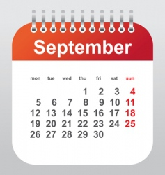 september calendar vector image