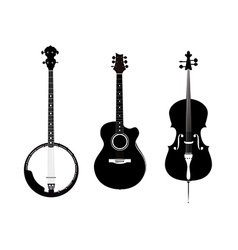 Banjo acoustic guitar and banjo vector