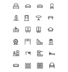 Furniture line icons 1 vector
