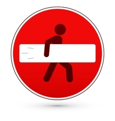Red stop road sign with surfer man vector