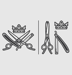 Scissors razor crown logo emblem vector