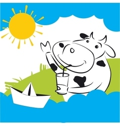 Cow with paper ship vector