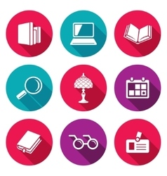 Library icons set vector