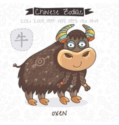 Chinese zodiac sign oxen vector
