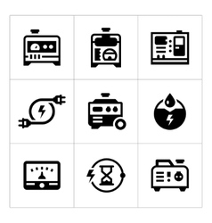 Set icons of electrical generator vector