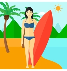 Surfer holding surfboard vector
