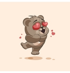Isolated emoji character cartoon bear in love vector
