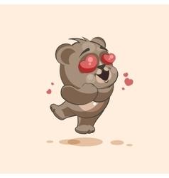 isolated Emoji character cartoon Bear in love vector image