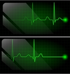 Abstract heart beats cardiogram on green monitor vector