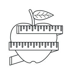 Apple measuring tape lose weight outline vector